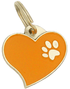 HEART ORANGE - pet ID tag, dog ID tags, pet tags, personalized pet tags MjavHov - engraved pet tags online